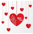 Paper hearts Valentines day card with pattern vector image vector image
