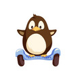 penguin balancing on blue segway isolated vector image vector image