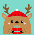 raindeer deer head face holding gift box red hat vector image vector image