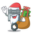 santa with gift miniature piston in cartoon vector image vector image