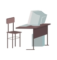 School Desk with Desktop Computer vector image vector image