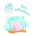 sea adventure jellyfish and seashell on bottom vector image