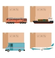 set cargo transportation with boxes vector image