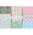 Set seamless Baby patterns vector image vector image