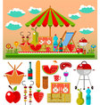 summer picnic in meadow vector image