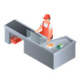supermarket cashier icon isometric style vector image vector image