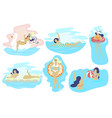 swimming beach girls flat isolated vector image vector image