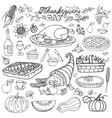 Thanksgiving dayDoodle food iconsLinearset vector image vector image