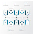 transport outline icons set collection of sailing vector image vector image