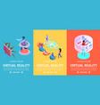 virtual reality set vertical banners vr games vector image vector image