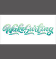 wake surfing lettering logo in graffiti style vector image