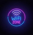 wi-fi neon sign wi-fi zone logo neon emblem vector image vector image