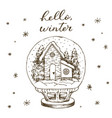 winter snow globe with house and snow inside cute vector image vector image