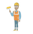 young african house painter holding paint roller vector image vector image