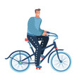 young bicyclist man with bike on forest road vector image vector image
