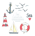 Set of nautical objects vector image