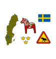 symbols of sweden icons vector image