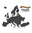 map of europe with the state of lithuania vector image