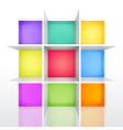 3d isolated empty colorful bookshel vector image vector image