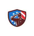 American Soldier Saluting USA Flag Crest Retro vector image
