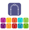 arch icons set vector image vector image