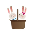 basket with rabbits cartoon icon vector image vector image