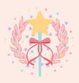 beautiful magic wand star with ribbon vector image