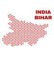 bihar state map - mosaic of love hearts vector image vector image
