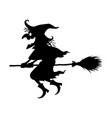 black witch riding a broom vector image vector image