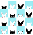 Blue White Pink Cat Rabbit Chess board vector image vector image