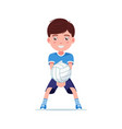 boy volleyball player beat ball with his hands vector image vector image