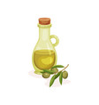branch with green olives and glass bottle of oil vector image