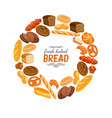 bread products round frame poster vector image vector image