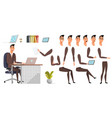businessman character poses and emotions set vector image vector image