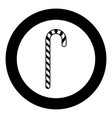 candy cane black icon in circle isolated vector image