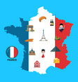 cartoon france sights on france map vector image