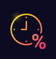 clock with percent sign loan timing glowing neon vector image