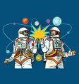 cosmonautics day two astronauts together vector image