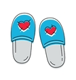 cute slippers with hearts icon on white vector image