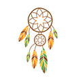 double dream catcher with feathers native indian vector image vector image