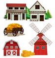Farm buildings vector image vector image