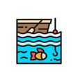 fishing on boat flat color line icon vector image