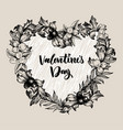 floral design frame with big heart linear vector image