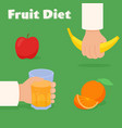 fruit diet concept hands with banana and a vector image