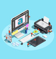 graphic designer workspace concept vector image vector image