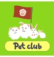 Greeting card with pets on a green background vector image vector image