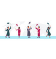 happy students group throwing their hats in air vector image vector image