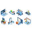 isometric mobile e-commerce online shopping vector image vector image
