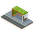 isometric modern bus stop with lawns on roof vector image