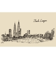 Kuala Lumpur skyline engraved hand drawn sketch vector image